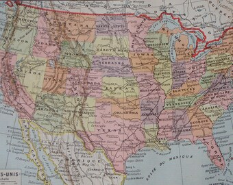 Antique USA map 1922 printed in France with the States of America illustrated in color