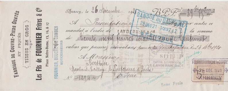 8 Vintage French Hand Written Money Orders dating to between 1913 & 1926  from Fabric mills across France some with old French Fiscal Stamps