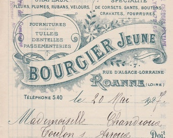 2 FRENCH VINTAGE 1927 and 1930 money orders hand written on old paper authentic ephemera for wall hanging, scrapbooking and collage