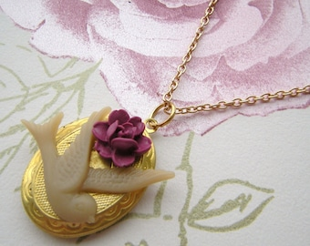 Swallow and Pink Rose Locket