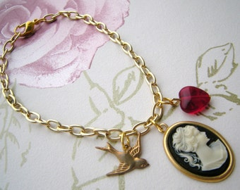 Cameo, Heart and Swallow Bracelet