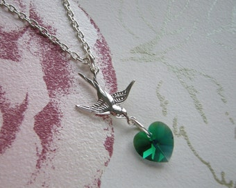 Green Swarovski Heart and Silver Swallow Necklace