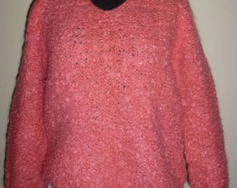 Vintage 60s 1960s 70s 1970s Coral Pink Sweater Italian Curly Mohair Pull Over V Neck Bracelet Sleeves M Medium Med Large L Lg