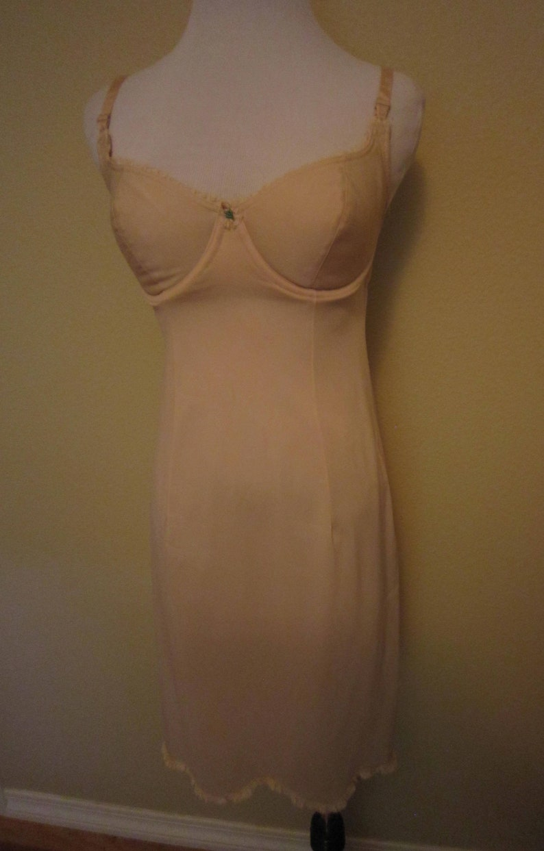 60s  Hensons Kickernick Nude Full Slip Underwire Bra Short Slip  34 C Vintage