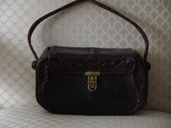 Vintage 30s 1930s 40s 1940s Box Purse Brown Snakes