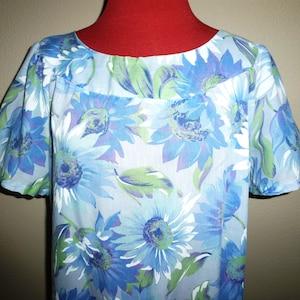 Vintage 60s 70s Teal Silk Dress Empire Long Sleeve Metal Zip Back boho XXS 2XS