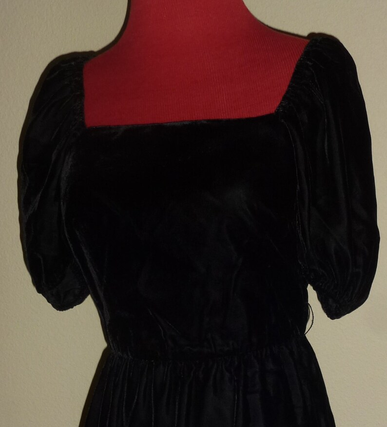 88a4a5ca6b74 Vintage 70s Samuel Blue Black Velvet Dress Square Neck On or | Etsy
