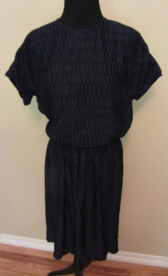 "Vintage 50s Toni Todd Navy Dress ""Uncrushable"" Jer"