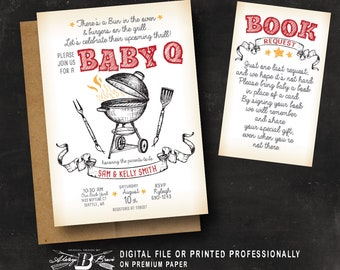 couples bbq baby shower invitation co ed baby shower invitation printed or printable digital file red baby q invitation book request