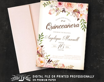 quinceaera invitation girls 15th birthday party invitation peach coral floral birthday invitation printed or digital spanish quinceanera