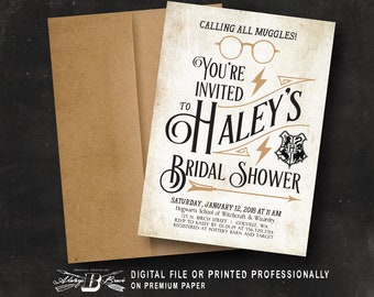 harry potter bridal shower invitation printed or digital file harry potter invitation harry potter party