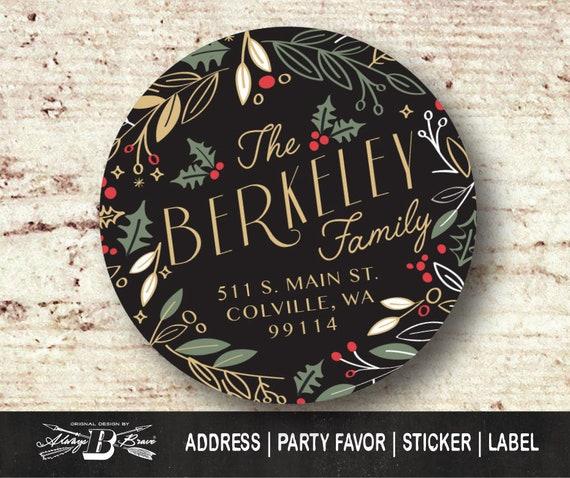 100 custom labels christmas address label retro christmas etsy