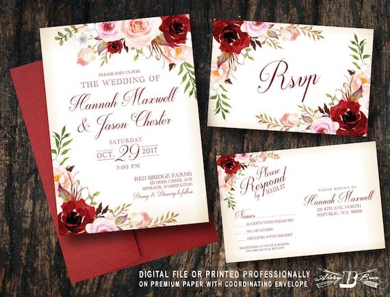 Marsala Red Blush Floral Wedding Invitation & RSVP Printed | Etsy