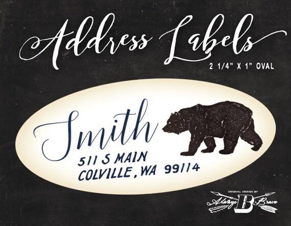 bear address label 108 custom oval address label rustic etsy