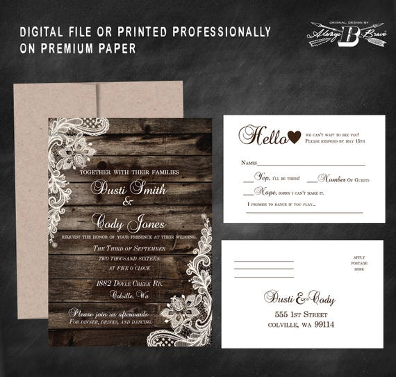 Rustic Wedding Invitation Rsvp Lace Wedding Invitation Etsy