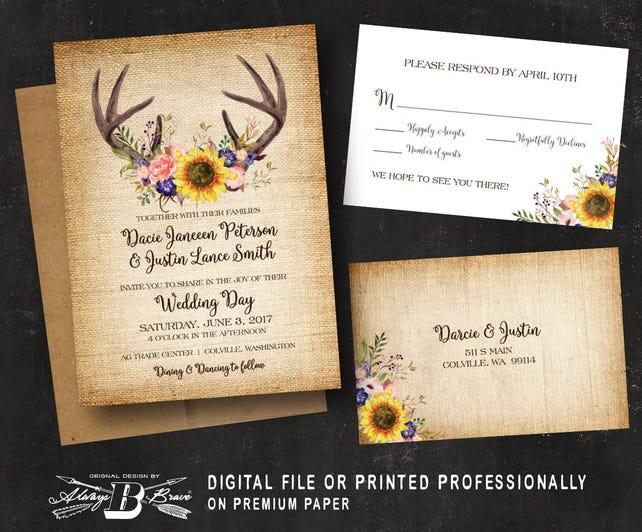 Rustic Wedding Invitation & RSVP | Horns Antlers Woodland Boho Deer Wedding Invitation | Fall Wedding Invitation | Burlap Wedding Invitation