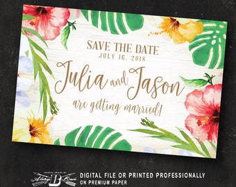 Tropical Save the Date Postcard | Printed or Printable Digital File DIY | Hibiscus Save the Date Postcard | Beach Save the Date Postcard