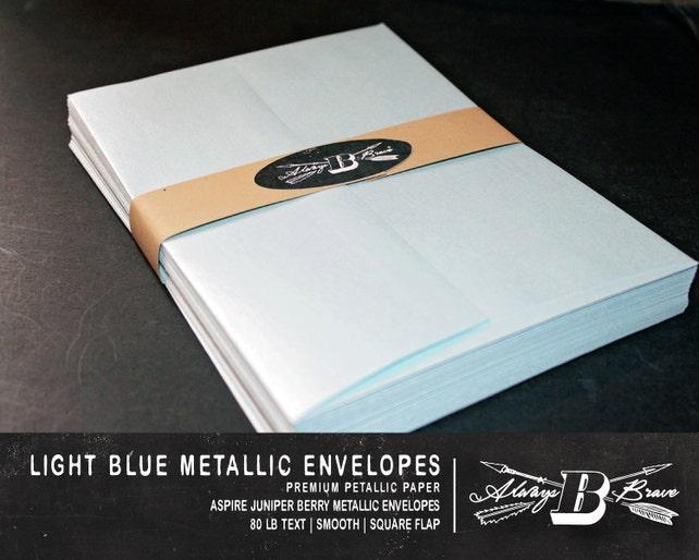25 Light Blue Metallic A2 Envelopes | Invitation Envelope | 4 3/8 x 5 3/4 | Cards & Invitations | Light Blue Envelope | Blue A6 Envelope