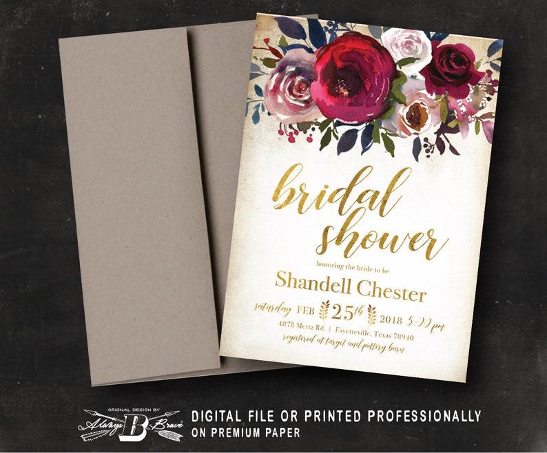 65ff3422dc5f Floral Bridal Shower Invitation Vintage Burgundy Maroon Gold