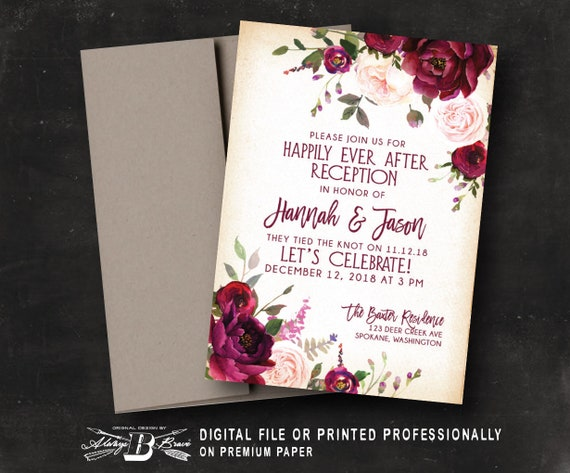 Happily Ever After Wedding Invitations: Red Burgundy Floral Wedding Reception Invitation Happily