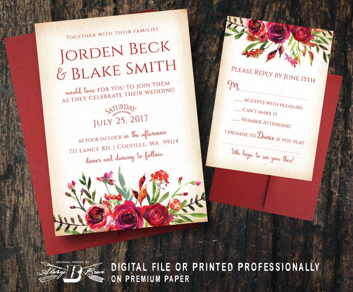 Marsala Wedding Invitation & RSVP Red Wedding Invitation   Etsy