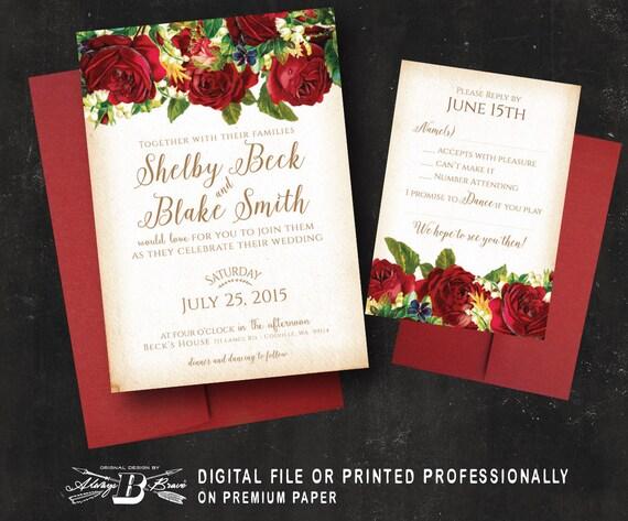 Marsala Red Rose Wedding Invitation & RSVP Vintage Floral | Etsy