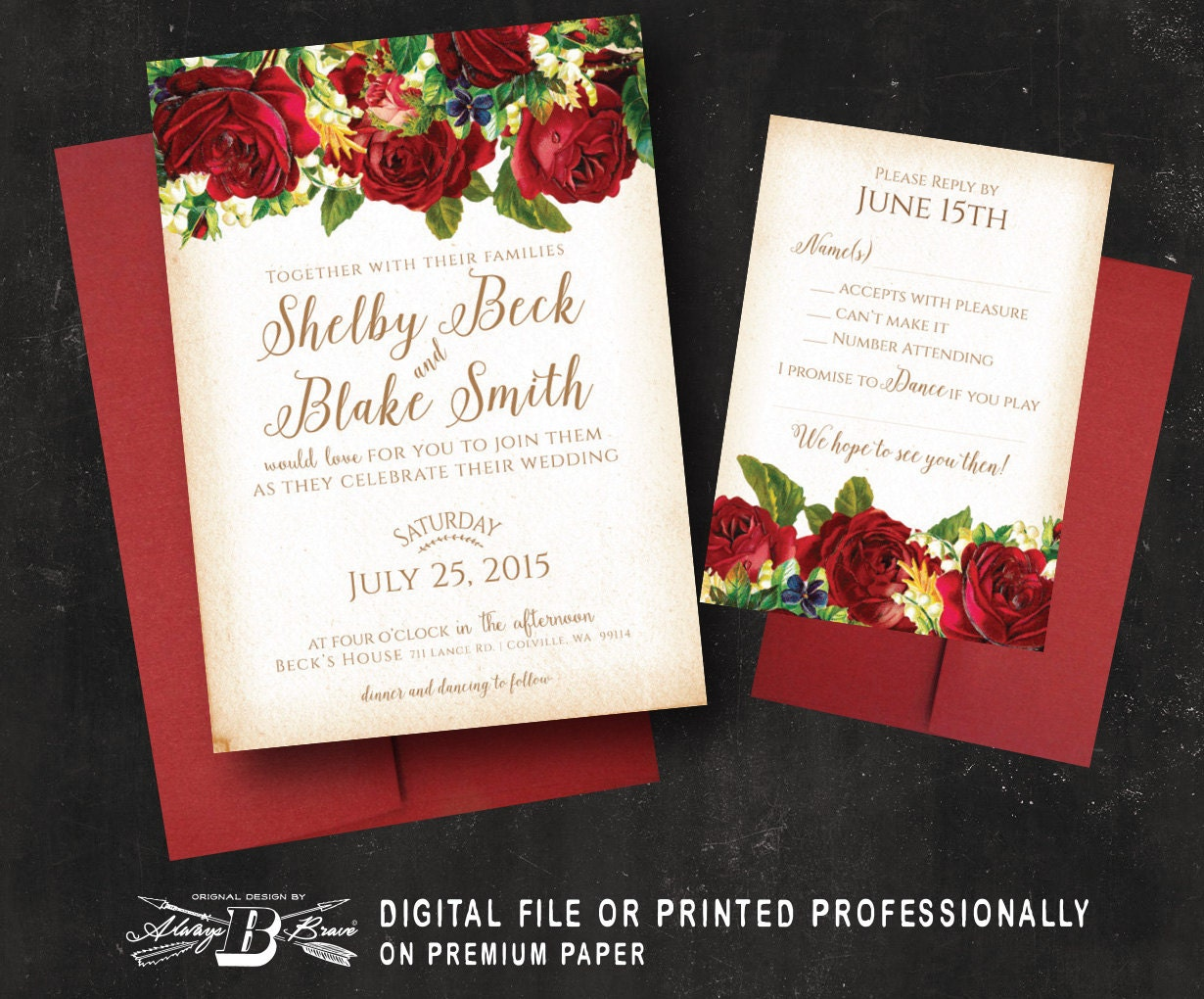 Marsala Red Rose Wedding Invitation & RSVP Vintage Floral | Etsy