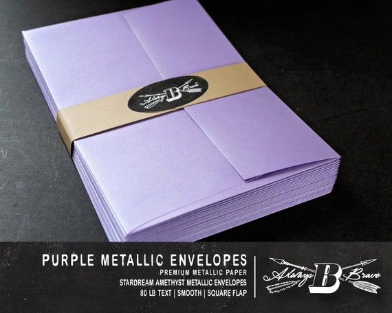 25 purple metallic a7 envelopes invitation envelope 5 1 4 etsy