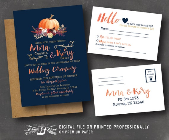 Fall Wedding Invitation Rsvp Navy Wedding Invitation Etsy