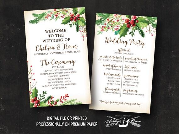 Rustic Christmas Wedding Program Winter Wedding Program Etsy