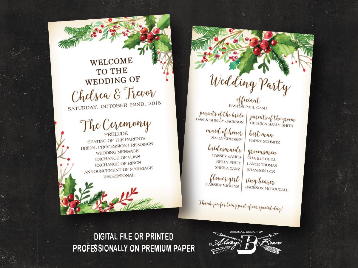 Rustic Christmas Wedding Program Winter Wedding Program Etsy