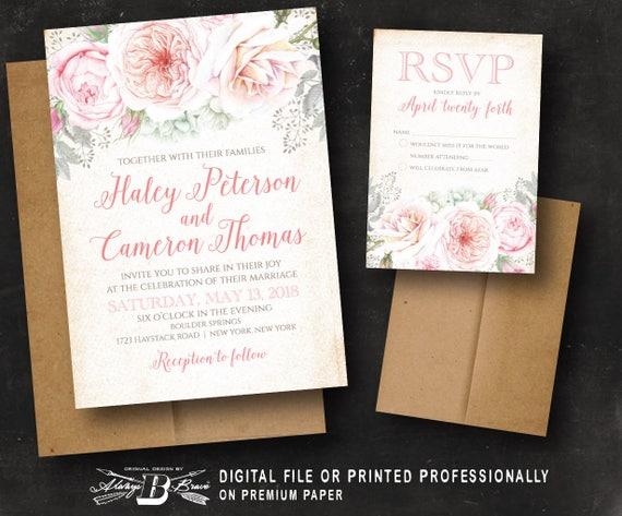 Blush Wedding Invitation Printed Or Digital File Pink Etsy