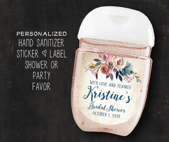 Floral Rose Gold Stripes Birthday Hand Sanitizer Labels