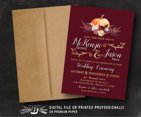 Fall Wedding Invitation Printed Or Digital File Pumpkin Etsy