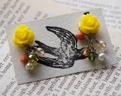 Yellow rose earrings (Sale)