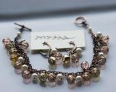 Jewelry set - pearl earrings and bracelet