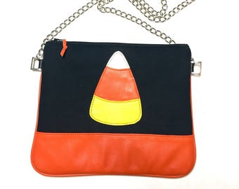 Candy corn bag, Halloween bag, Leather bag, Candy corn, Halloween crossbody bag