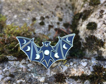 Enamel Moon Phase Bat Pin, Bat Pin, Moon Phase Pin, Glow in the Dark