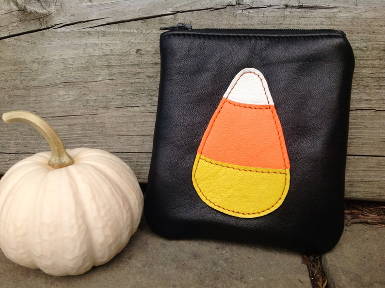 Halloween Pouch Candy Corn Zip Pouch Leather Zip Pouch image 0