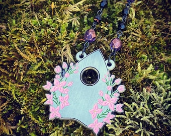 The Secondary Mourning Necklace, Lilacs, Planchette, Mourning