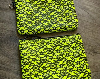 Neon Yellow and Black Lace Leather Pouch