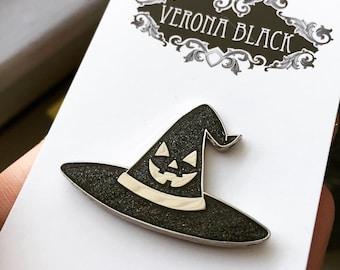 Jackolantern Witch Hat Pin, Witch Hat, Jackolantern, Glitter Pin