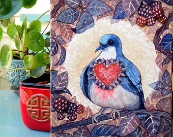 Original Luzon Dove Watercolour on paper canvas - Fearless heart