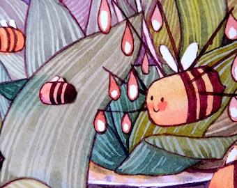Original Watercolour Bee Painting - Among the Teacup Orchids