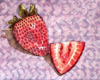 Original Watercolor Painting  - Strawberry study