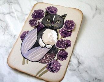 ACEO Original watercolour Art - Allium