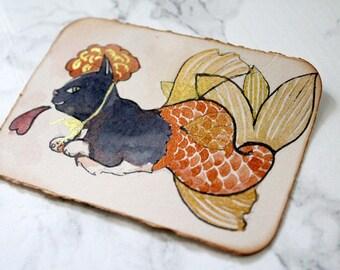 ACEO Original watercolour Art - Goldfish