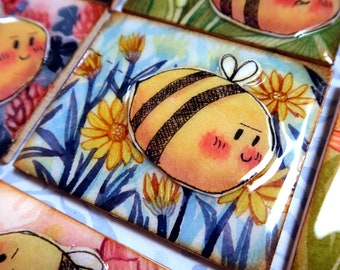 Original Floral watercolour painting with resin - Mischevious Bees