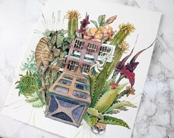 Original Watercolour Painting - Wild Satellite