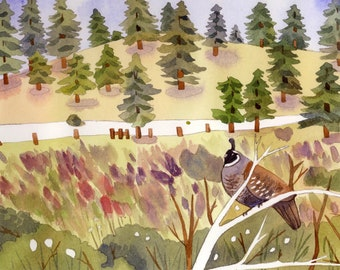Handmade PAINT BY NUMBER Watercolour kit - Meadow and Quail